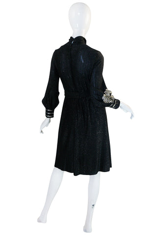 1960s Black and Silver Lurex Knit & Sequin Dress