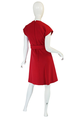Treasure Item - c1973 Red Knit Wool Dress & Belt from Saks