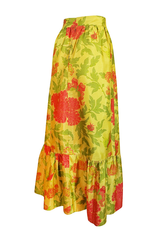 1960s Unlabelled Coral & Green Floral Print on Yellow Silk Skirt
