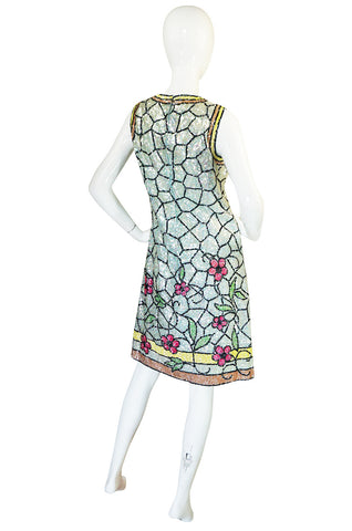 1960s Fully Sequinned Floral Stain Glass Window Dress