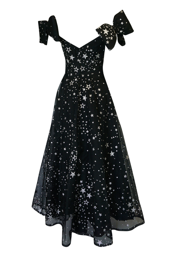 1986 Murray Arbeid Silver Glitter Stars & Bows Ballgown Dress