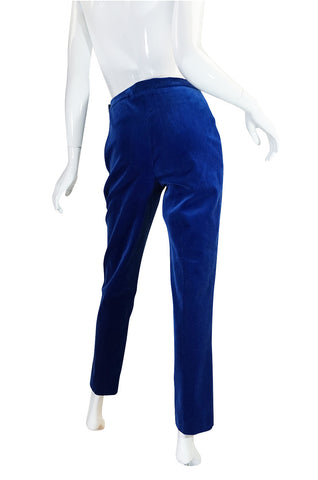 Rare 1980s Blue Velvet Chanel Cigarette Pants