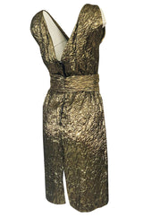 1960s Possible Christian Dior Gold Lame Back & Front Plunge Dress