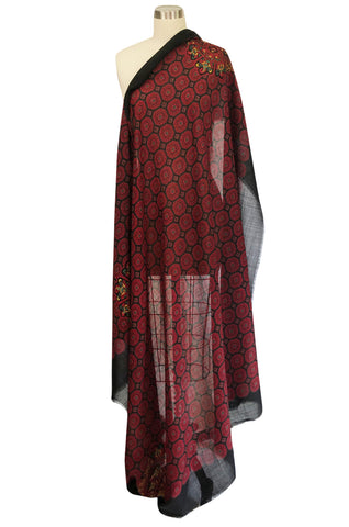 Huge 1970s Christian Dior Deep Red Print Silk and Wool Shawl