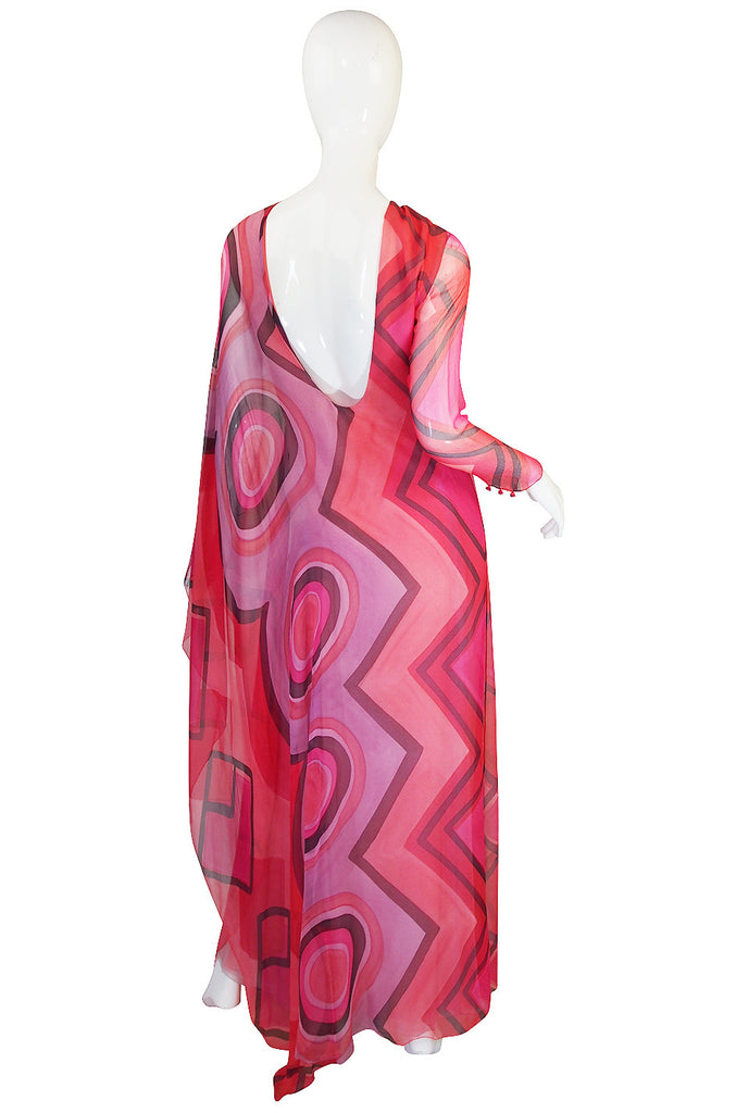 1970s Silk Chiffon Caftan Low Back Gagliano Dress