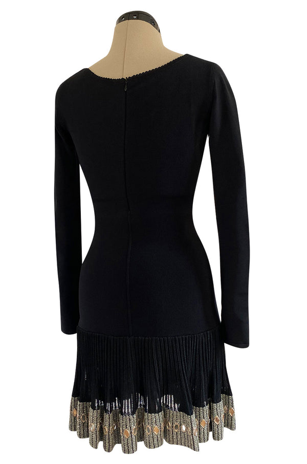Early 1990s Azzedine Alaia Black Knit Couture Dress w Beaded Hem & Hand Placed Mirrors