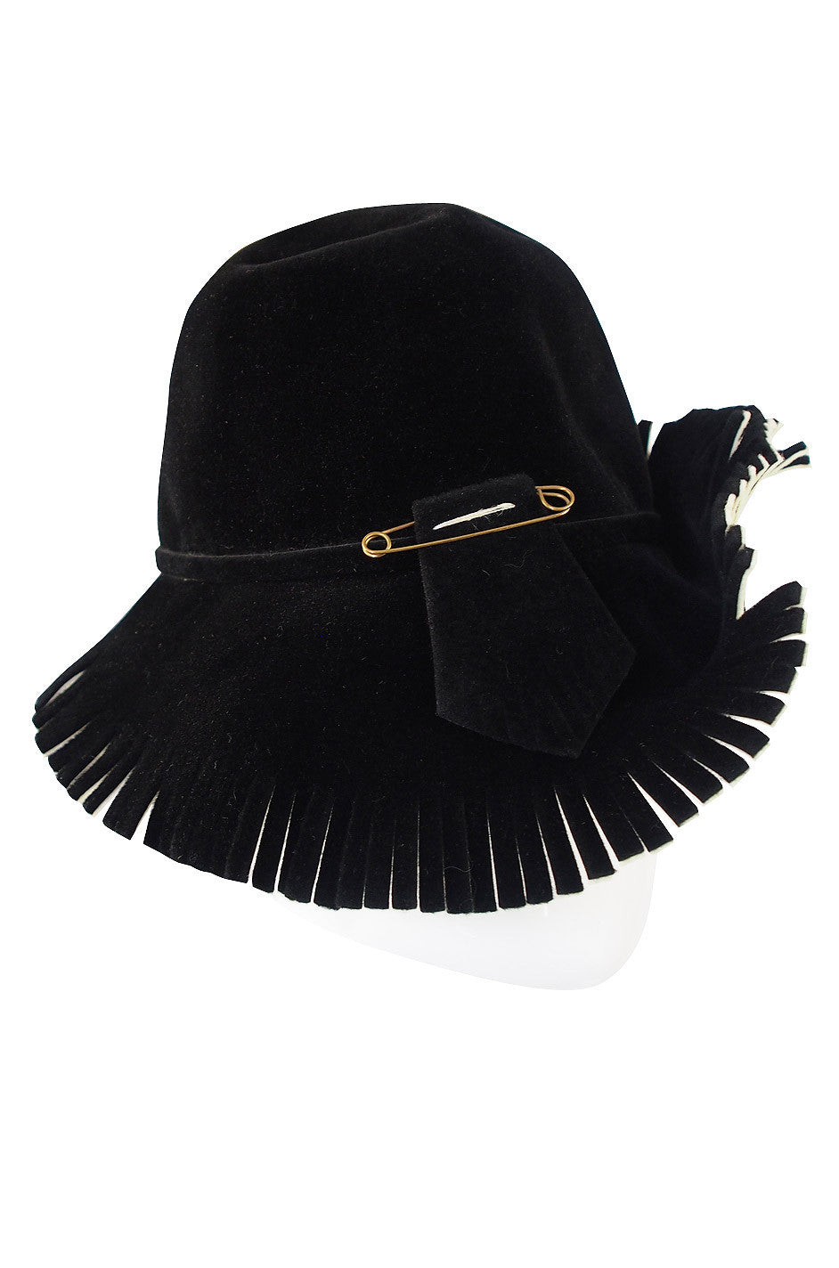 65dd67a7 1970s Fringed Yves Saint Laurent Hat 1970s Fringed Yves Saint Laurent Hat  ...