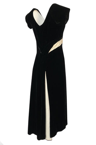 1950s Ceil Chapman Black Velvet & Ivory Silk Satin Wiggle Dress
