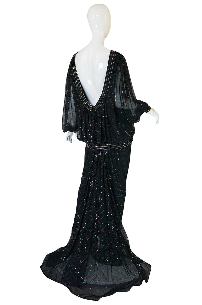 1980s Wayne Clark Backless Silver Glitter Trained Chiffon Dress