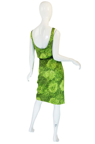 1950s Green Floral Print Cotton Louis Estevez Dress