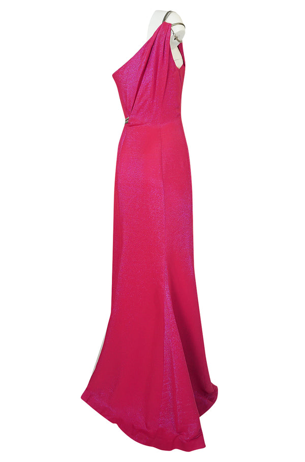 1990s Thierry Mugler Couture Bright Pink Metallic Lurex One Shoulder Dress w High Slit