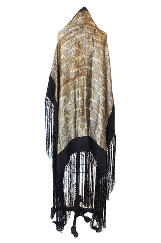 Rare 1920s Gold Lame & Silk Fringe Shawl