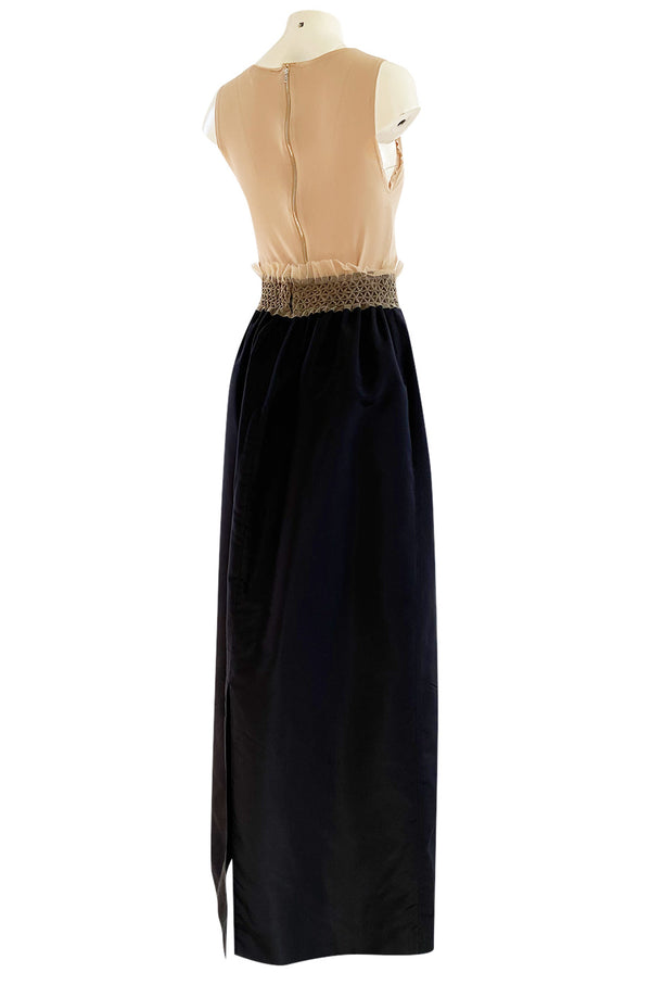 Bespoke 1998 Isaac Mizrahi Nude Stretch Top & Black Silk Taffeta Skirt Set