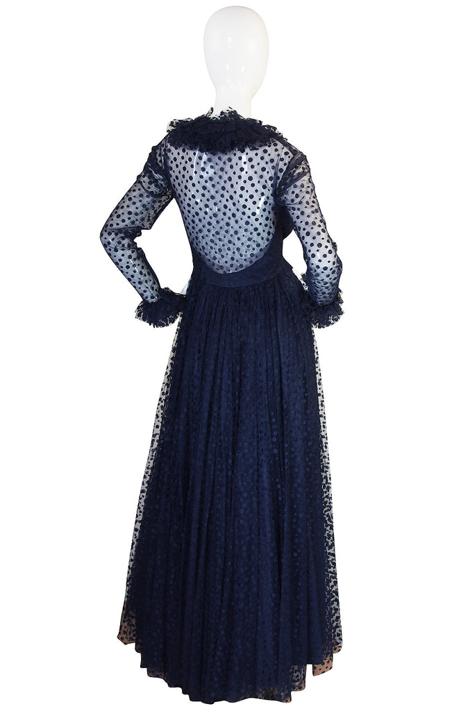 1960s Deep Blue Silk Tulle Alfred Bosand Gown