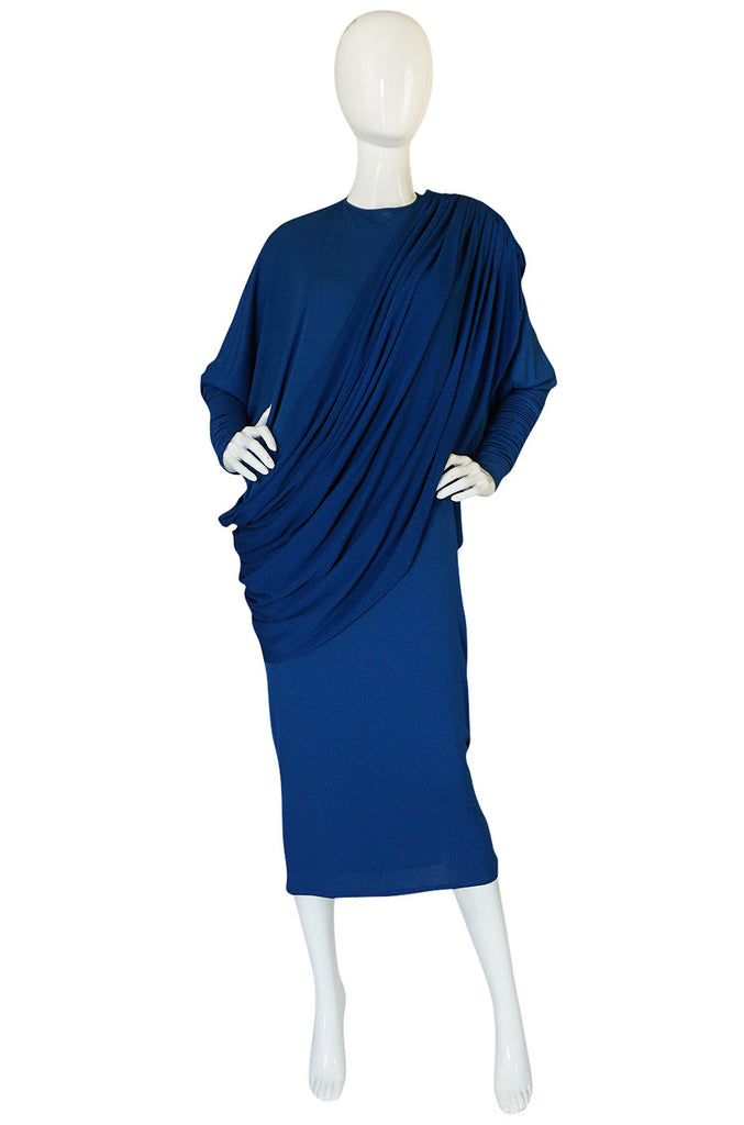 1980s OMO Norma Kamali Jersey Dramatic Sleeved Dress
