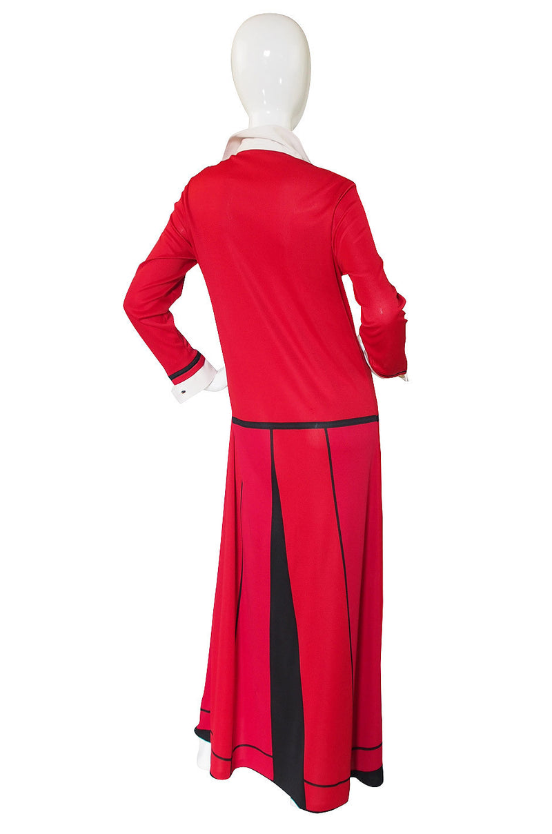 1970s Roberta de Camerino Red Maxi Dress