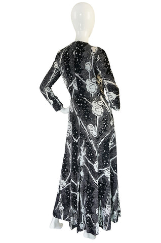 1960s Donald Brooks Rhinestone Scattered Jersey Dress