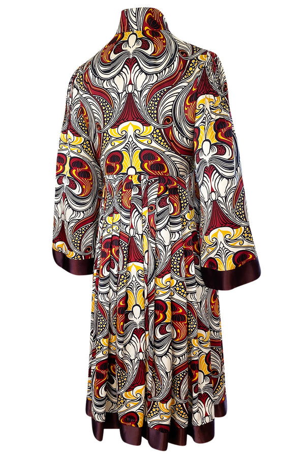 1972 Jean Muir Abstract Printed Silk Satin Dress w Pin Tuck Detailed Bodice