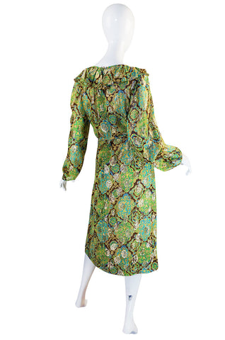 1970s Green & Gold Metallic Silk Adele Simpson Dress