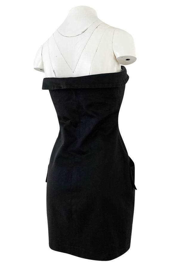 1980s Yves Saint Laurent Black Cotton Button Front Strapless Mini Dress w Pockets