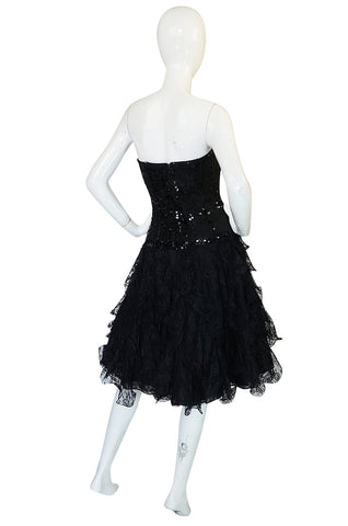 1980s Lillie Rubin Black Sequin & Lace Ruffled Dress