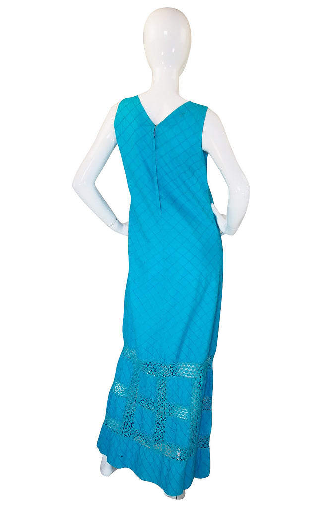 1960s Turquoise Cotton Pintuck Mexican Dress
