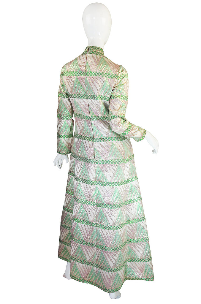 1960s Metallic Pink & Green Mollie Parnis Dress