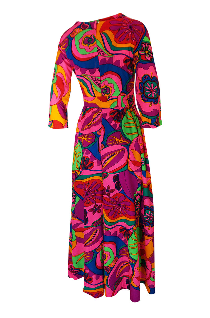 1960s Unlabeled Bright Pink Extra Wide Leg Print Jumpsuit