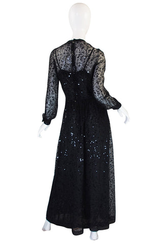 c 1983-85 Heavily Sequinned Chanel Silk Chiffon Dress