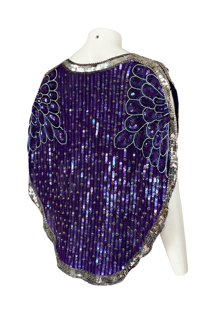 1970s Unlabeled Purple & Silver Sequin and Bead Cape or Top