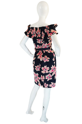 1980s Christian Dior Off Shoulder Floral Print Dress