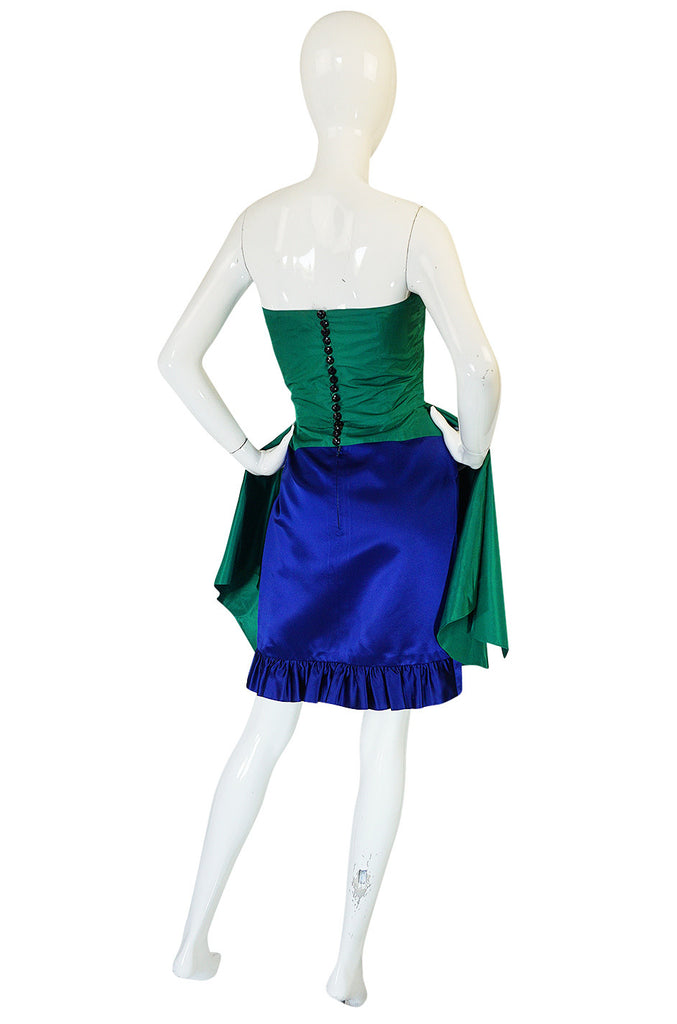1980s Numbered Lanvin Brilliant Green & Blue Silk Dress