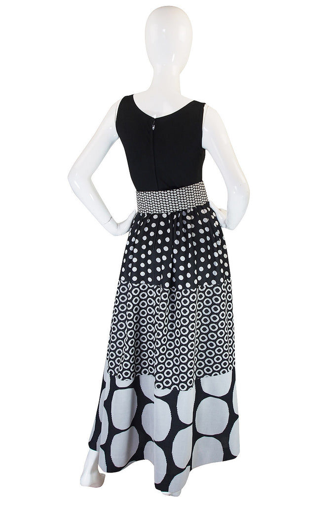 c.1965 Rudi Gernreich Dot Maxi Dress with Belt