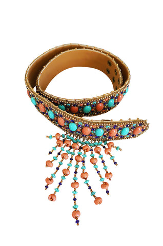 1960s Completely Covered Cabochon and Beaded Belt