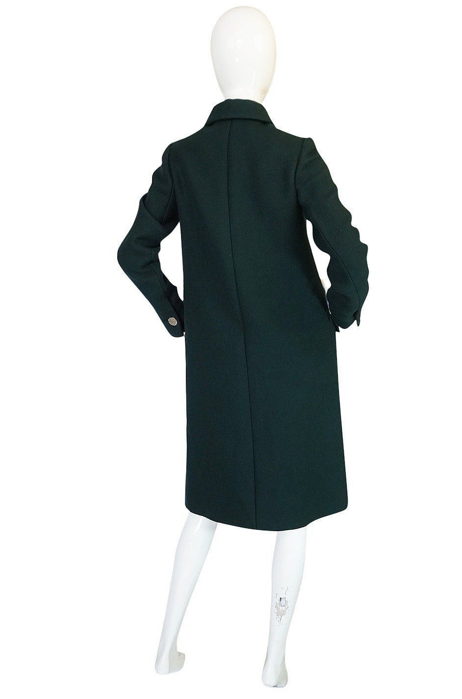 1960s Norell Green Wool With Silver Buttons Military Coat