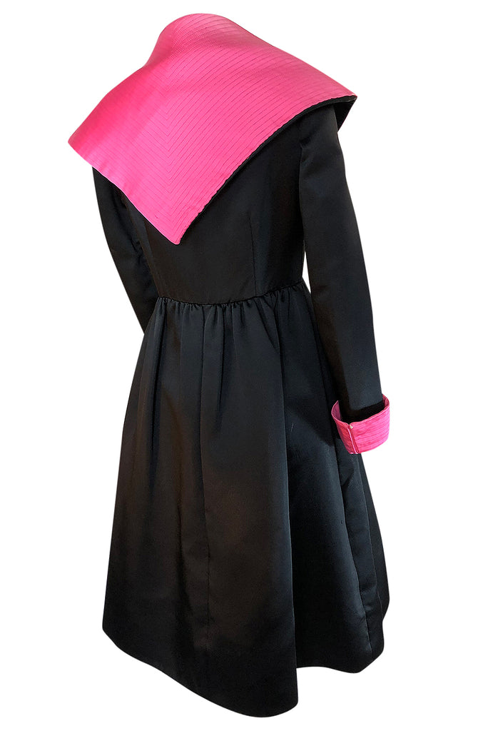 1960s Geoffrey Beene Fitted Pink Collar & Cuffs Black Coat Dress
