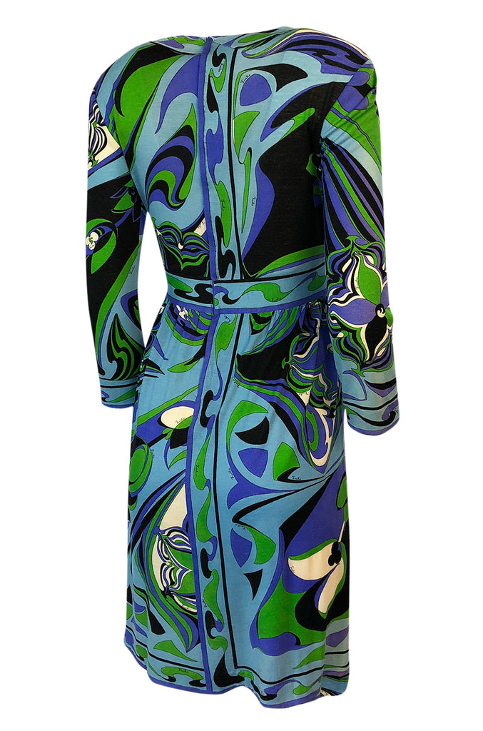 1960s Emilio Pucci Cashmere & Silk Purple & Green Classic Print Dress