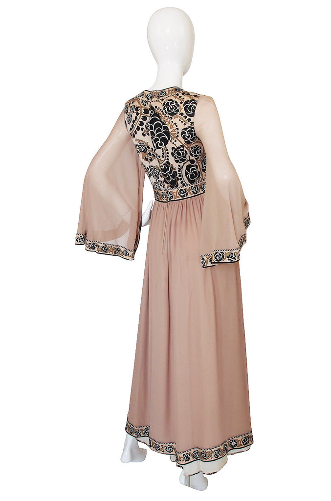 1970s Bessi Taupe Silk Jersey & Chiffon Dress