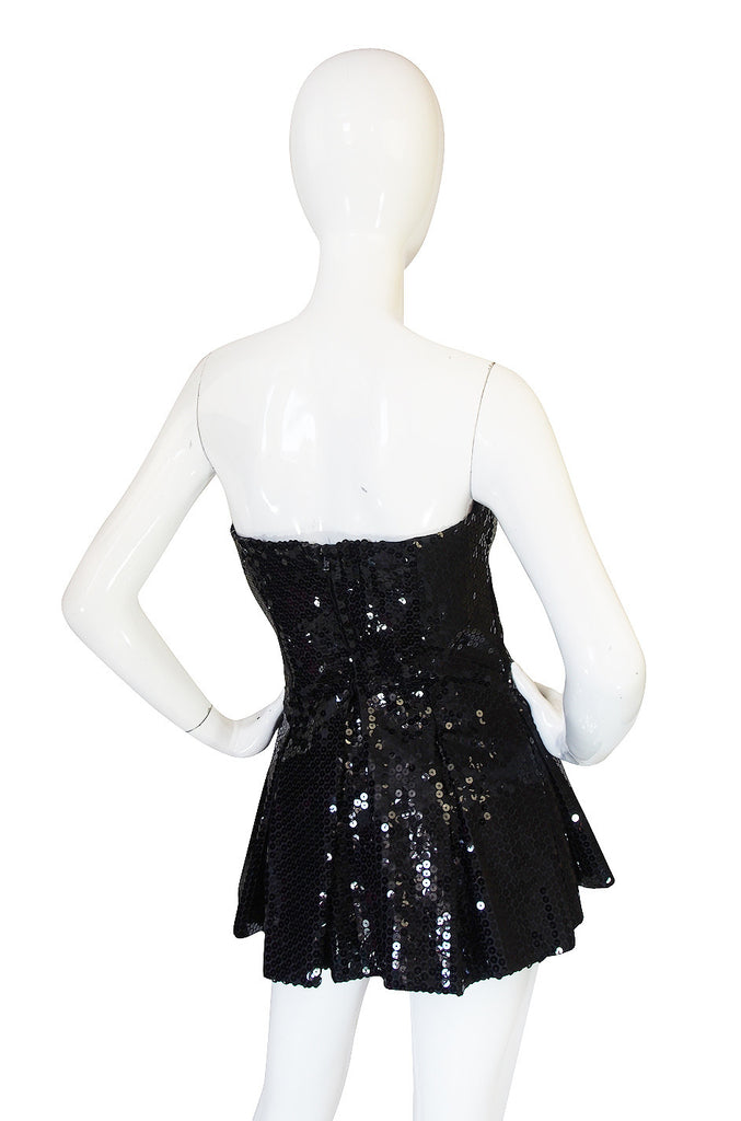 1970s Nina Ricci Couture Sequin Corset Top or Micro Mini