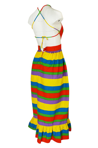 1960s Oscar de la Renta Rainbow Striped Backless Halter Dress