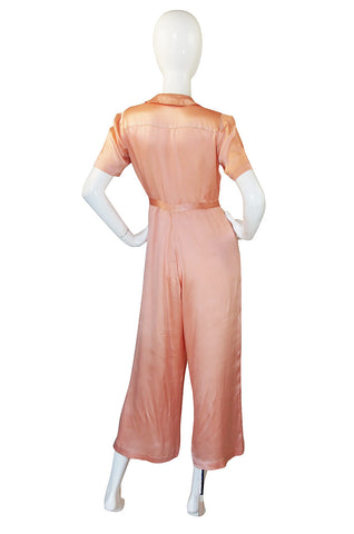 1930s Peach Pink Silk Satin Jumpsuit Or Lingerie Piece