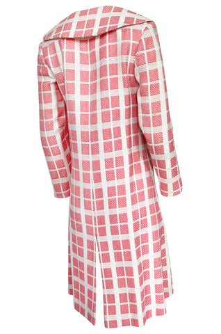 1960s Pierre Cardin Pink & White Check Woven Wool Fabric Spring Coat