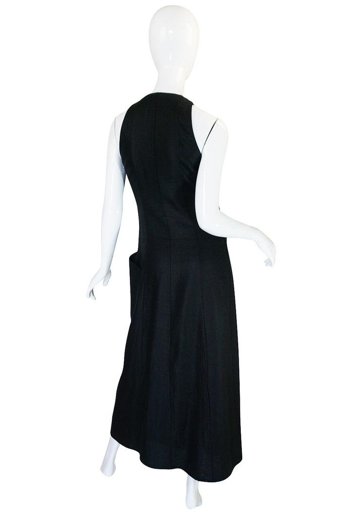 1970s Rare and Chic Hermes Black Linen Wrap Dress
