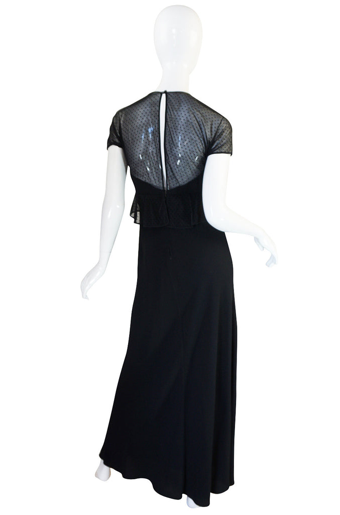 1980s Jackie Rogers Silk Crepe & Dotted Net Dress