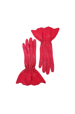 Vintage Yves Saint Laurent Pink Leather Gauntlet Gloves 7