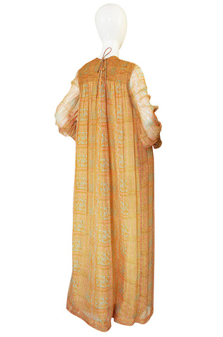 1970s Treacy Lowe Peach Print Silk Chiffon Caftan Dress