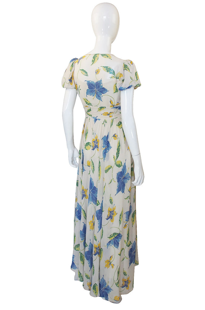 1930s Puffed Sleeve Floral Silk Chiffon Gown