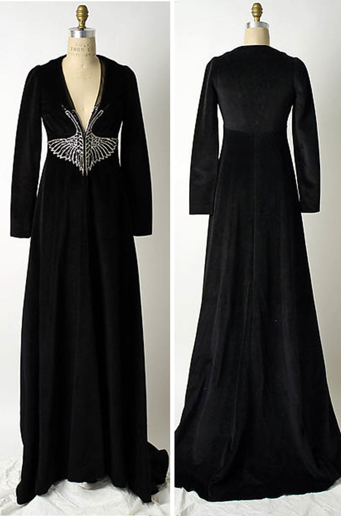 "Museum Held 1971 John Kloss Beaded ""Black Swan"" Dress"