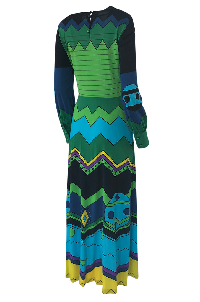 1970s Louis Feraud Turquoise & Green Printed Jersey Maxi Dress