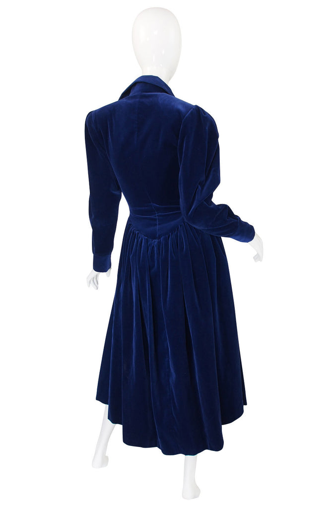 1970s Norma Kamali Blue Velvet Dress